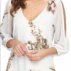 Floral printed chiffon 3/4 sleeve dress